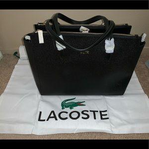 Lacoste double zip black cow leather bag